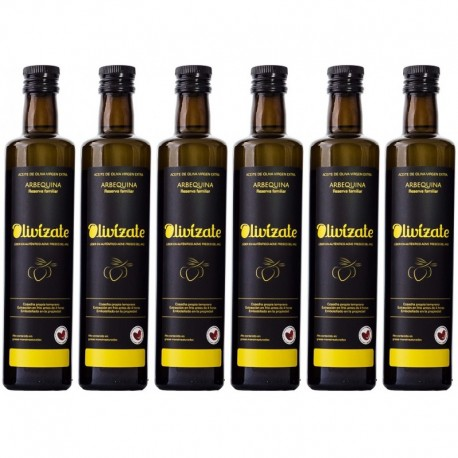 Olivízate arbequina, 500 ml. Caja 6 unidades