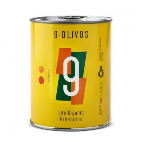 9 Olivos Life Organic Arbequina, 500 ml. Caja 12 unidades