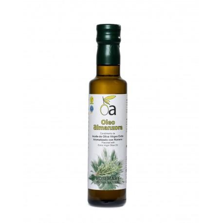 Oleoalmanzora arbequina aromatizado con Romero, 250 ml. Caja 12 unidades.