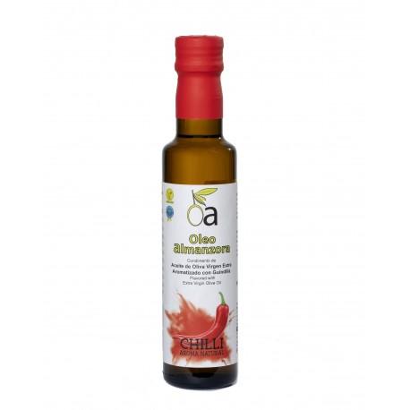 Oleoalmanzora Chilli flavoured olive oil, 250 ml. Box 12 units.